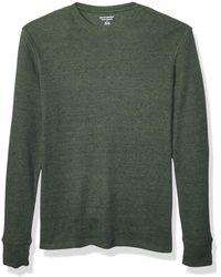 Amazon Essentials Regular-Fit Long-Sleeve Waffle Henley Shirts - Verde