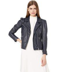 Rebecca Taylor Leather Biker Jacket - Blue