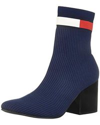 Tommy Hilfiger - Flag Sock Mid Heel Boot Ankle - Lyst