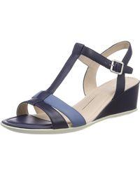 Ecco Shape 35 Wedge Sandal Open Toe Heels, - Blue