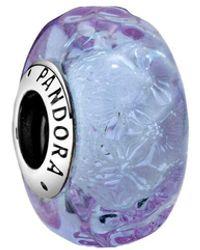 PANDORA Wellenförmiges Lavendelblaues Murano-Glas Charm - Lila