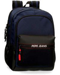 Pepe Jeans Split Mochila Doble Compartimento Azul 31x44x15 cms Poliéster 20.46L