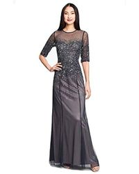 Adrianna Papell 3/4 Sleeve Beaded Illusion Gown With Sweetheart Neckline - Blue