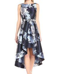 Eliza J Sleeveless Floral High-low Hem Dress - Blue