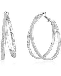 Guess - Update Glitter Paper Hoop Earrings - Lyst