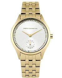 French Connection Quartz Watch With Silver Dial Analogue Display And Gold Stainless Steel Bracelet Fc1272gm