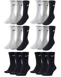 Nike Lot de 18 paires de chaussettes de tennis pour homme et femme Noir/gris - Blanc