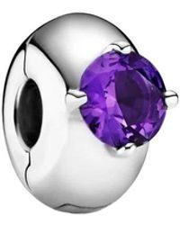 PANDORA Purple Round Solitaire Clip Charm - Morado