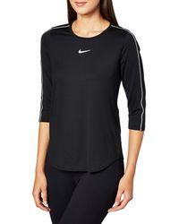 Nike W Nkct Top 3qt Hemd - Schwarz