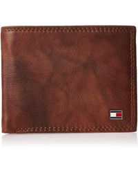 Tommy Hilfiger Rfid Blocking Leather Extra Capacity Traveler Wallet - Brown