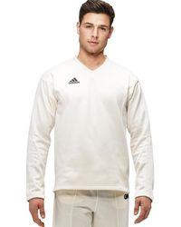 adidas Long Sleeved Cricket Jumper - White