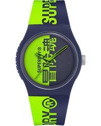 Superdry Reloj Analógico para Hombre de Cuarzo con Correa en Silicona SYG346UN - Verde