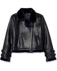 Kenneth Cole Shearling Moto Jacket - Blue