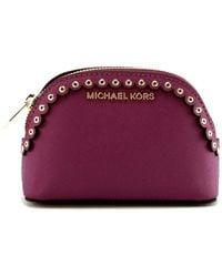Michael Kors Jet Set Make Up Cosmetic Bag Case Travel Pouch Saffiano Leather Grommet Detailing - Purple