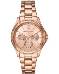 Michael Kors - Riley Multifunction Rose Gold-Tone Stainless Steel Watch MK6656 - Lyst