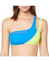 Calvin Klein One Shoulder Bandeau Haut de maillot de bain - Bleu