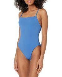 Seafolly Square Neck Maillot Costume Intero - Blu