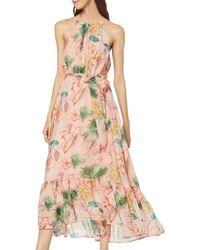 Dorothy Perkins Damen Luxe Navy Floral Solid Bodice Belted Midi Dress L/ässiges Kleid