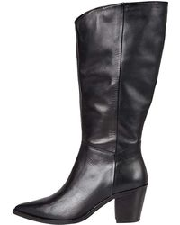 FIND Knee High Pull On Leather Western Botas - Negro