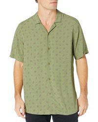Goodthreads Camisa Hawaiana de ga Corta con Cuello de Campamento Button-Down-Shirts - Verde