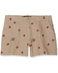 Love Moschino Embroidered Allover Ladybirds_Chambray Shorts - Neutre