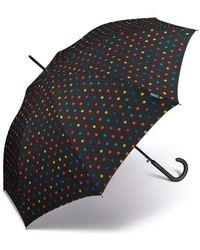 Benetton , ombrello da donna, lunghezza automatica, 8 stecche, colore nero con pois multicolore, diametro 105 cm