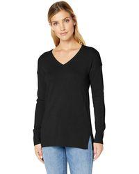 Amazon Essentials Jersey ligero tipo túnica con cuello en V para mujer - Negro