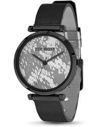 Steve Madden Black Mesh Strap Snake Print Dial Watch