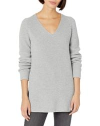 Goodthreads Cotton Half-Cardigan Stitch Deep V-Neck Sweater Pull - Gris