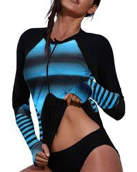 HIKARO S Zip Front Long Sleeved Rashguard Swimwear Colour Block Printed Tankini Swimsuit No Bottom Blue Uk Size 16