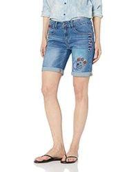 Desigual - Denim Knee Trousers Catrina Woman Blue Short Femme - Lyst
