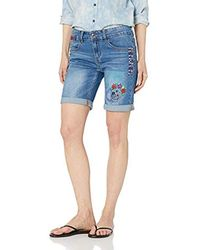 Desigual Denim Knee Trousers Catrina Woman Blue Short - Bleu