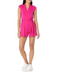 Calvin Klein V-neck Romper With Self Sash Belt - Pink