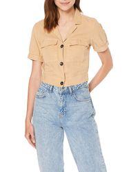 Miss Selfridge Camel Crop Safari Shirt - Blue