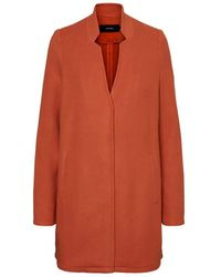 Vero Moda Vmbrushedkatrine 3/4 Jacket Boos Wool Blend Coat - Red