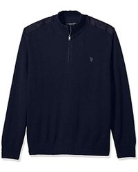 U.S. POLO ASSN. - Quilted Shoulder 1/4 Neck Sweater - Lyst