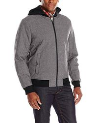 Levi's - Heather Soft Shell Box Quilted Varsity Hooded Bomber - Lyst