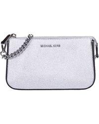 Michael Kors Michael By Jet Set Silver Medium Chain Pouchette One Size Silver - Metallic
