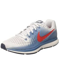 d2bc73160aa93 Nike Air Zoom Pegasus 34 Running Shoes White blue in Gray for Men - Lyst