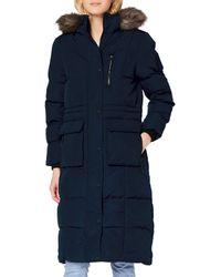 Superdry S Longline Everest Faux Fur Coat - Blau