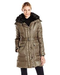Vince Camuto - Belted Down Coat With Utility Pockets And Faux-fur Collar - Lyst