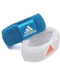adidas 2 Pack New Wristband, White/blue