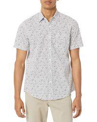 Amazon Essentials Slim-fit Short-Sleeve Print Shirt Chemise - Blanc