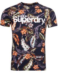 Superdry T-Shirt Super 5's Bleu Marine Feuille Indo S