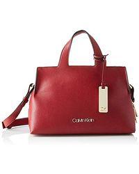 Calvin Klein Damen Neat F19 Med Tote Umhängetasche, 20.3x15.2x27.9 cm - Rot