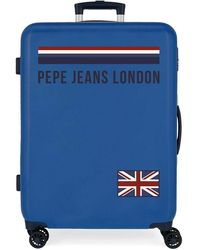 Pepe Jeans Valise Trolley Cabine rigide Overlap Bleu 38 x 55 x 20 cm