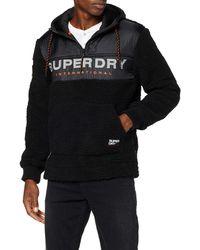 Superdry Sherpa Worldwide Stealth Half Ziphood Capucha - Negro
