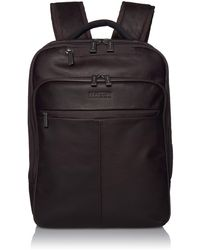 """Kenneth Cole Reaction Hattan Colombian Leather Slim 16"""" Laptop & Tablet Rfid Business Backpack - Brown"""