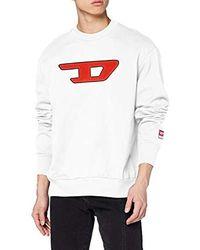 DIESEL S-Crew-Division-d Sweat-Shirt Felpa Uomo - Bianco