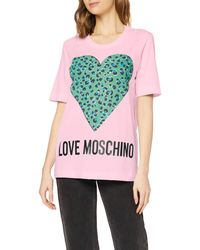 Love Moschino T-Shirt_Animalier Printed Heart - Rosa